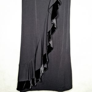 INC International Concepts Dresses - Black Stretchy Dress With Black Velvet Ruffle
